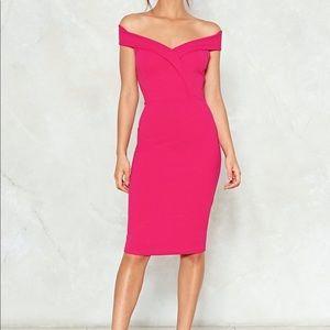 ✨ NWT Nasty Gal Pink Midi Dress Off Shoulder